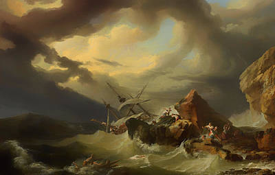 Survivor Art Painting - Shipwreck Off A Rocky Coast by Mountain Dreams
