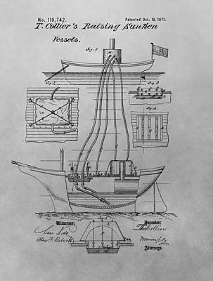 Coast Guard Drawing - Shipwreck Recovery Patent Drawing by Dan Sproul