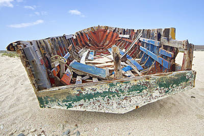 Photograph - Shipwrecked Fishing Boat Of Aruba by David Letts