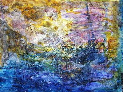 Stormy Weather Painting - Shipwrecked by Mimulux patricia no No