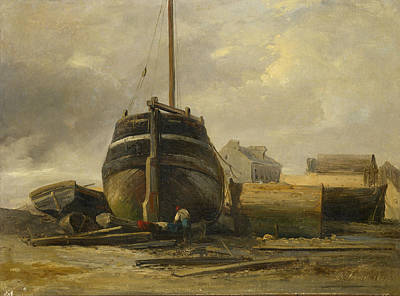 Shipyard Painting - Shipyard At Le Havre by Jules Coignet