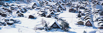 Snow Drifts Photograph - Shirakawagou Gifu Japan by Panoramic Images