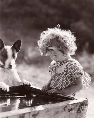 Shirley Temple And Dog - Sepia Art Print by MMG Archives