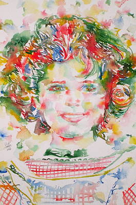 Shirley Painting - Shirley Temple - Watercolor Portrait.1 by Fabrizio Cassetta