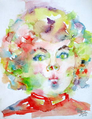 Shirley Painting - Shirley Temple - Watercolor Portrait.2 by Fabrizio Cassetta