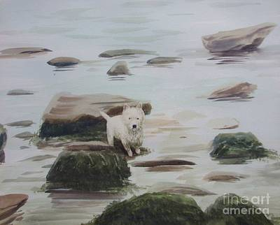 Incoming Tide Painting - Shirley's Dog by Martin Howard