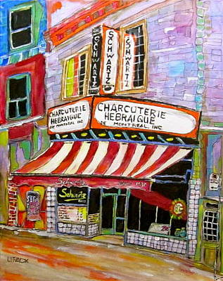 The Main Montreal Painting - Shirley's Schwartz's  by Michael Litvack