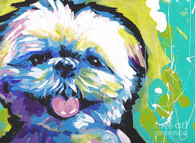 Dog Art Painting - Shitzy Smile by Lea S