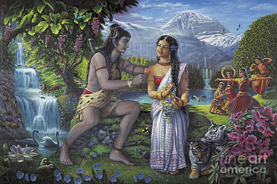 Mahadeva Painting - Shiva And Parvati by Vishnudas Art