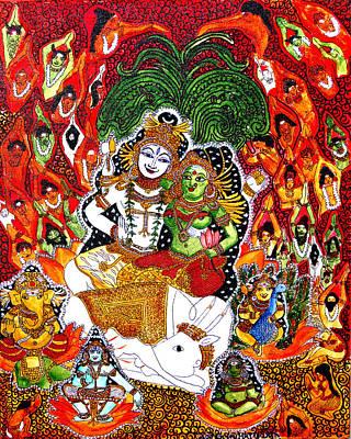 Painting - Shiva Kudumba by Saranya Haridasan