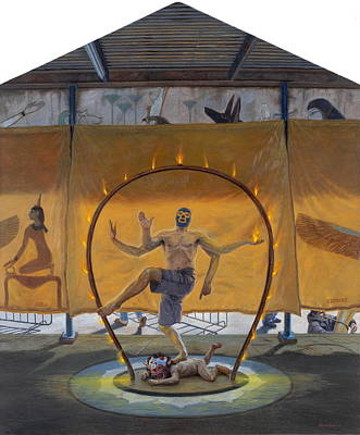 Tin Roof Painting - Shiva Luchador by Alfredo Arcia