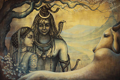 Shiva Parvati . Spring In Himalayas Art Print by Vrindavan Das
