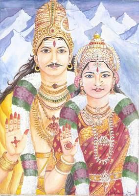 Parvati Painting - Shiva Sakthi by Parimala Devi Namasivayam