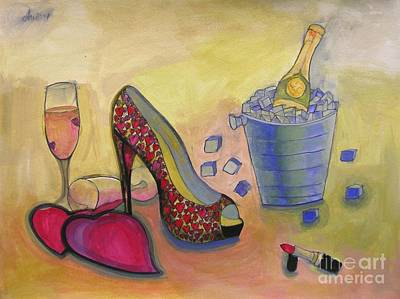 Lip Stick Painting - Shoe And Celebration by Lamario Jackson