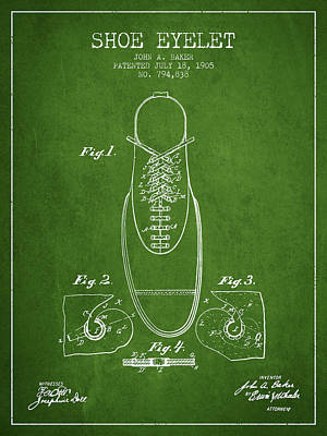 Shoe Digital Art - Shoe Eyelet Patent From 1905 - Green by Aged Pixel