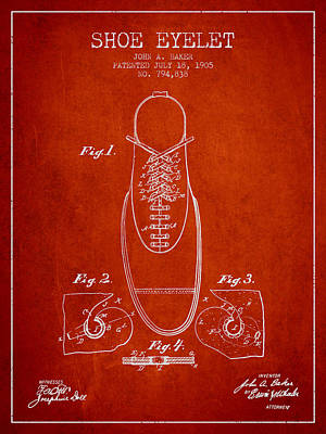 Shoe Digital Art - Shoe Eyelet Patent From 1905 - Red by Aged Pixel