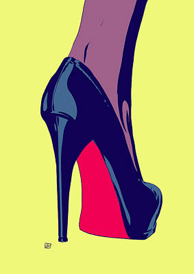 Fashion Illustration Wall Art - Drawing - Shoe by Giuseppe Cristiano