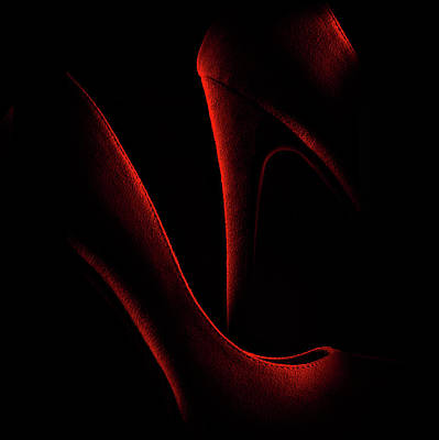 High Heels Photograph - Shoe In Red by Don Clark
