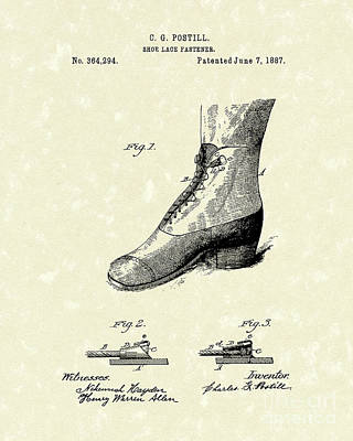 Boots Drawing - Shoe Lace Fastener 1887 Patent Art by Prior Art Design