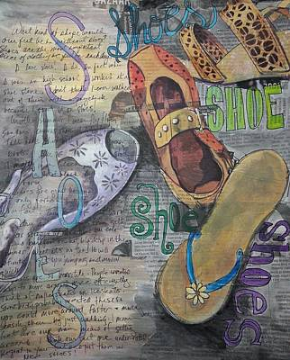 Mix Medium Drawing - Shoe Obsession by Kathy Kucia