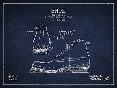 Shoe Digital Art - Shoe Patent From 1906 - Navy Blue by Aged Pixel
