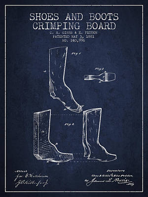 Shoes And Boots Crimping Board Patent From 1881 - Navy Blue Art Print by Aged Pixel