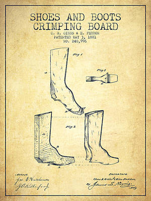 Shoes And Boots Crimping Board Patent From 1881 - Vintage Art Print by Aged Pixel