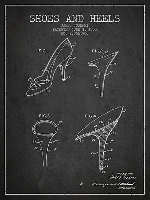 Shoe Laces Digital Art - Shoes And Heels Patent From 1958 - Charcoal by Aged Pixel