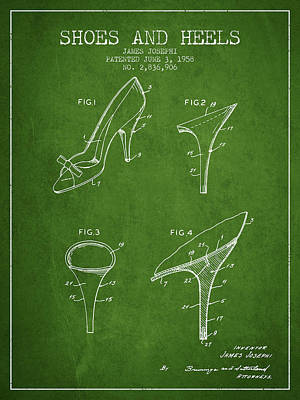 Shoes And Heels Patent From 1958 - Green Art Print
