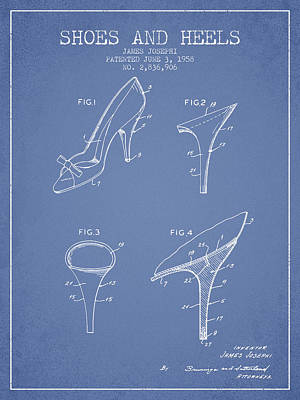 Shoes And Heels Patent From 1958 - Light Blue Art Print by Aged Pixel