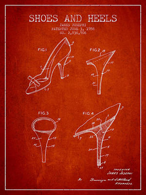 Shoes And Heels Patent From 1958 - Red Art Print