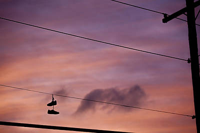 Photograph - Shoes At The Wires by Alex Potemkin