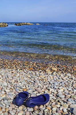 Clear Shoes Photograph - Shoes On Pebbles by Diane Macdonald