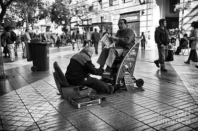 Shoeshine In Santiago Mono Art Print by John Rizzuto