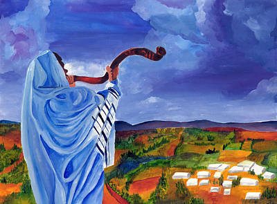 Purim Painting - Shofar I by Dawnstarstudios