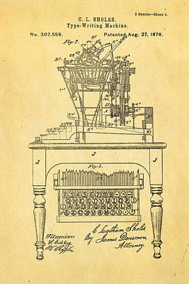 Sholes Qwerty Keyboard Patent Art 1878  Print by Ian Monk