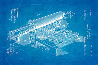 Sholes Type Writing Machine Patent Art 1896 Blueprint Print by Ian Monk