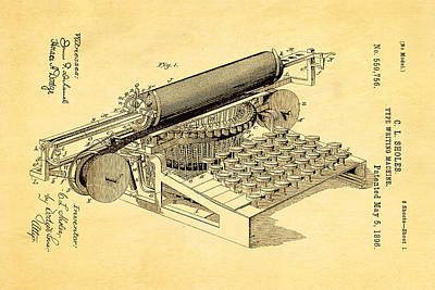 Typewriter Photograph - Sholes Type Writing Machine Patent Art 1896 by Ian Monk