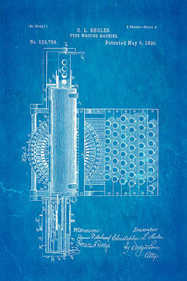 Typewriter Photograph - Sholes Type Writing Machine Patent Art 2 1896 Blueprint by Ian Monk