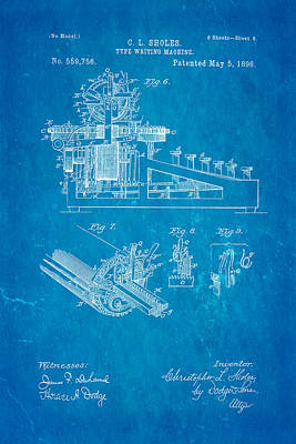 Typewriter Photograph - Sholes Type Writing Machine Patent Art 3 1896 Blueprint by Ian Monk
