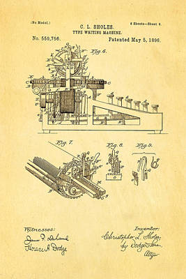 Typewriter Photograph - Sholes Type Writing Machine Patent Art 3 1896 by Ian Monk
