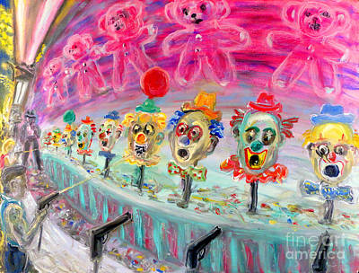 Circus Painting - Shoot The Clowns by Arthur  Robins
