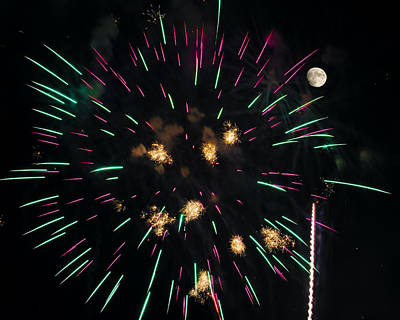 Photograph - Shoot The Moon - Fireworks And Moon by Penny Lisowski