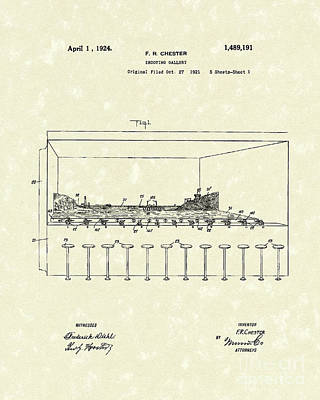 Gallery Drawing - Shooting Gallery 1924 Patent Art by Prior Art Design