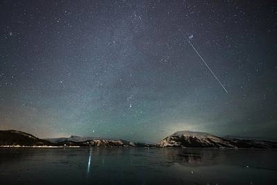 Shooting Star Photograph - Shooting Star And Milky Way by Tommy Eliassen