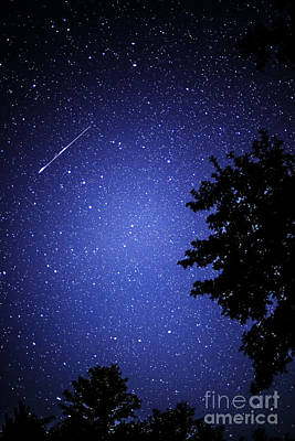 Shooting Star And Satellite Art Print by Thomas R Fletcher