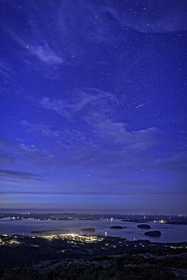 Photograph - Shooting Star Over Bar Harbor by Rick Berk