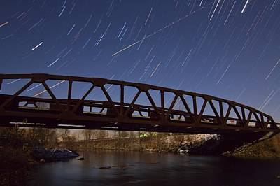 Photograph - Shooting Star Over Bridge by Dan Sproul
