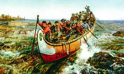 Canoes Digital Art - Shooting The Rapids by Frances Anne Hopkins