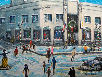 Seasonal Painting - Shopping At Grover Cronin by Rita Brown